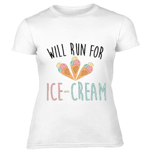Will Run For Ice Cream Womens T-Shirt