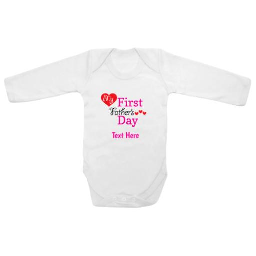 First Fathers Day Hearts Pink White Longsleeve Baby Grow