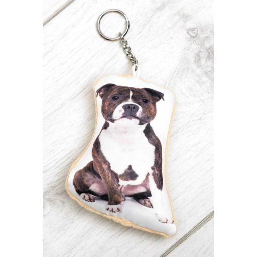 Staffordshire Bull Terrier Shaped Image Key Ring