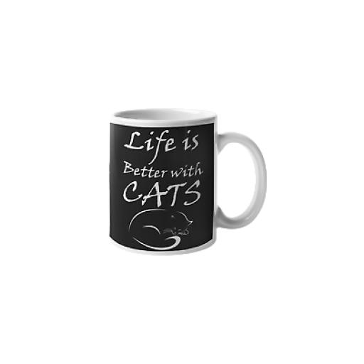 Life Better With Cats 11oz Mug Ceramic Novelty Design Gift For Cat Lovers