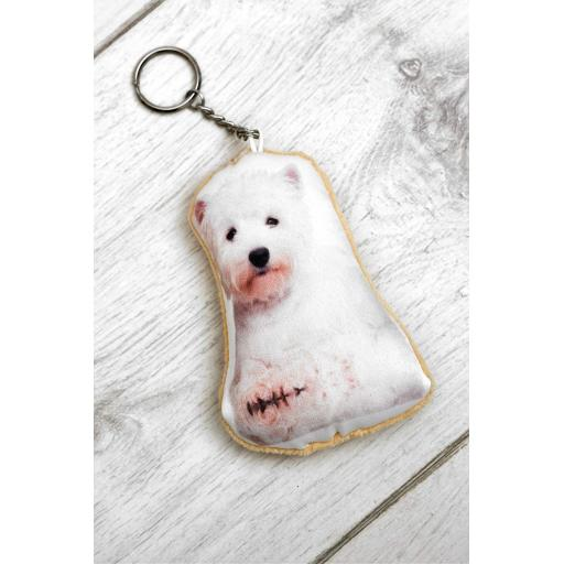 Cute Westie Shaped Image Key Ring