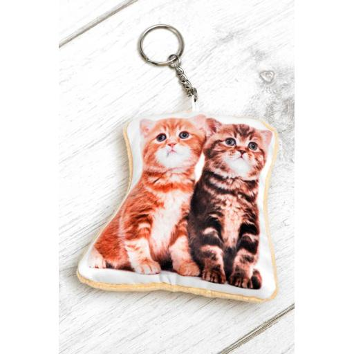 Cute Kittens Shaped Image Key Ring