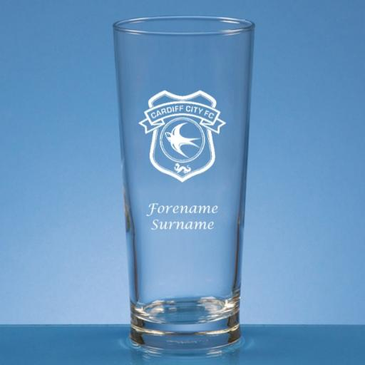 Cardiff City FC Crest Straight Sided Beer Glass