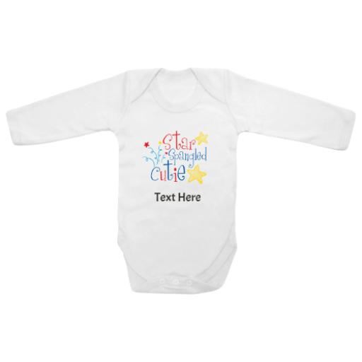 Star Spangled Cutie White Longsleeve Baby Grow