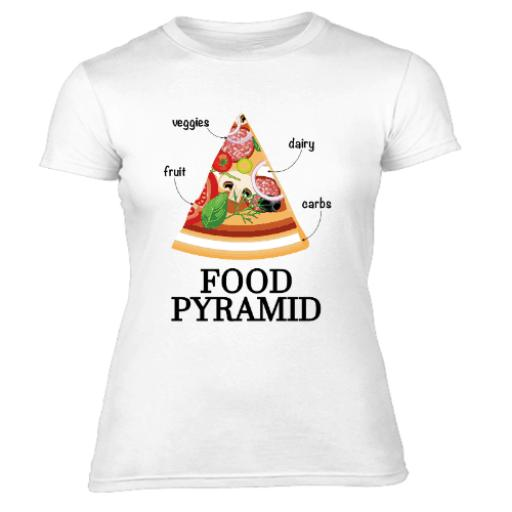 Pizza Food Pyramids Womens T Shirt