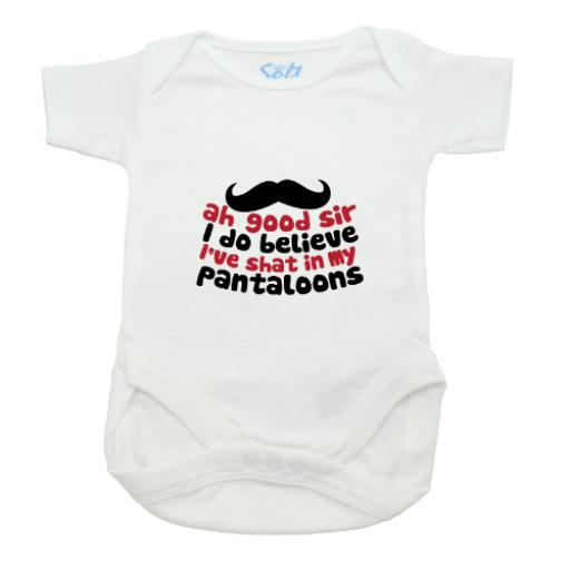 Shat My Pantaloons Baby Grow-White-Short Sleeved-Printed Front Panel-3-9 Months
