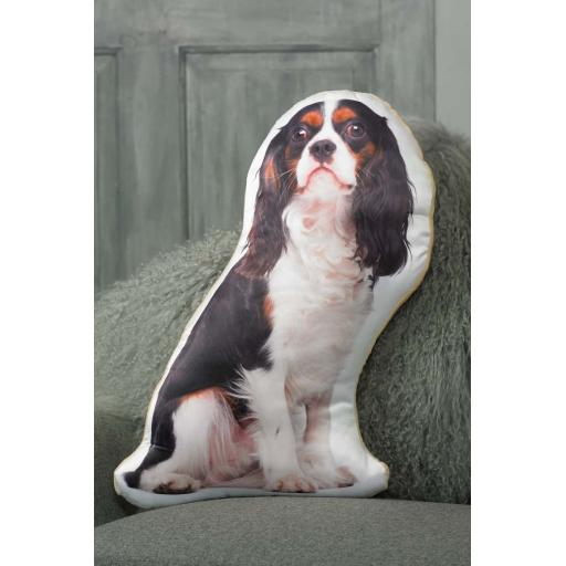 Tri Colour King Charles Cavalier Shaped Cushion Perfect Gift For Dog Lovers