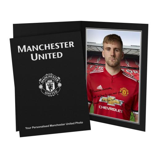 Official Personalised Manchester United FC Shaw Autograph Photo Folder