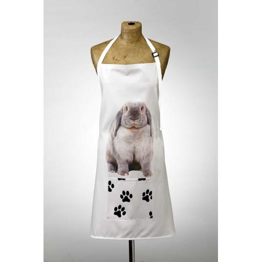 Grey Rabbit Image Apron Poly-Cotton Machine Washable