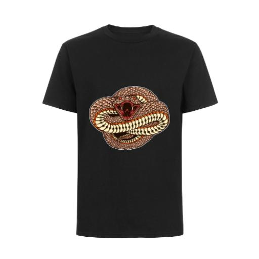 Open Mouth Attacking Snake Fantasy Style Wild Dangerous Design T-Shirt