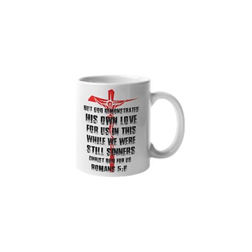 Romans 5:8 11 oz Mug Ceramic Novelty Design Christian Church Bible Gift
