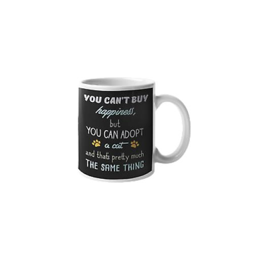 Can't Buy Happiness But Can Adopt A Cat 11 oz Mug Novelty Cute Cat Lover Gift