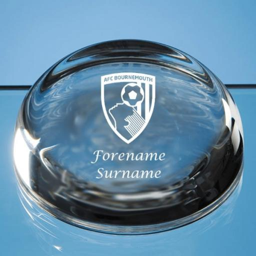 AFC Bournemouth Crest Optical Crystal Paperweight