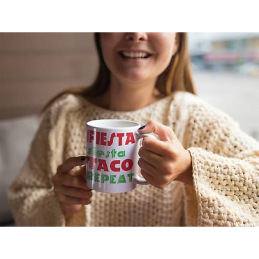 Fiesta Siesta Taco REPEAT 11 oz Mug Ceramic Novelty Design Gift Party Mexican