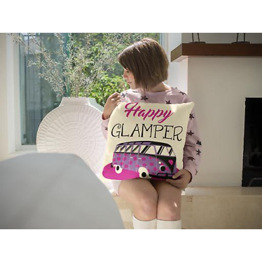 Happy Glamper Cushion Cover - Decorative Linen Glamping Inspired Gift
