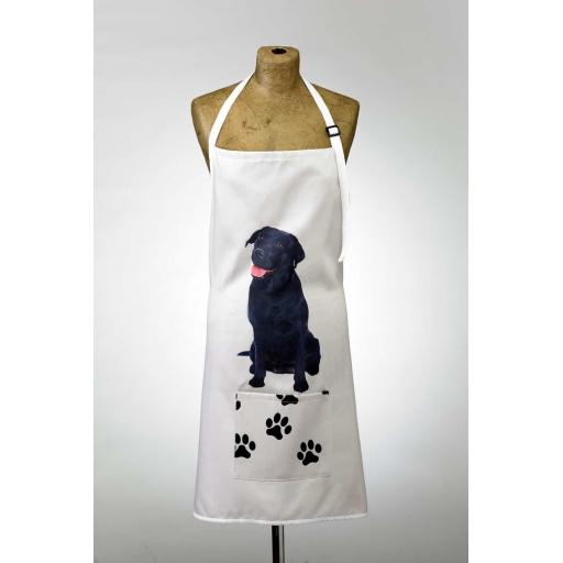 Black Labrador Image Apron Poly-Cotton Machine Washable