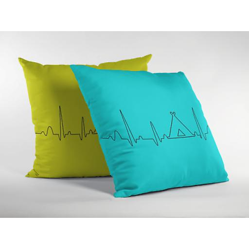 Camping Heart Beat Cushion Cover - Decorative Linen-Camping Inspired Gift
