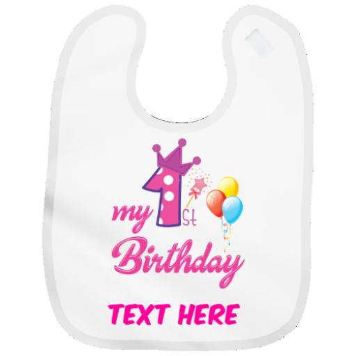 Personalised Baby Bib Boy| Girl First 1st Birthday Cute Gift - Add Name Colours