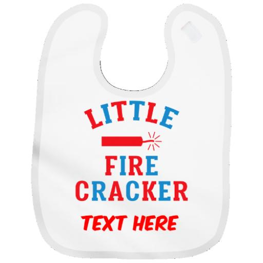 Personalised Baby Bib Boy or Girl Funny Novelty Design Little Firecracker