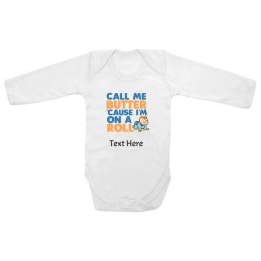Call Me Butter On Roll White Longsleeve Baby Grow
