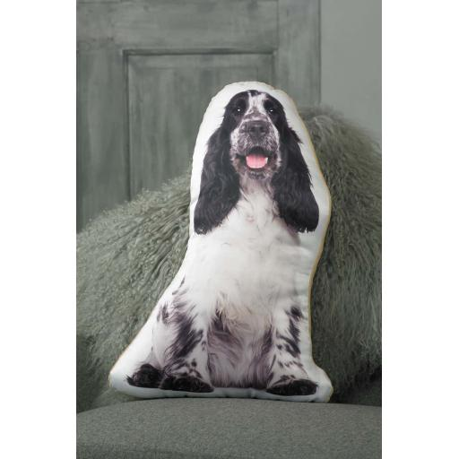 Black White Cocker Spaniel Shaped Cushion Perfect Gift For Dog Lovers