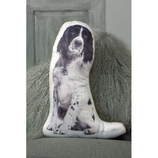 Black White Springer Spaniel Shaped Cushion Perfect Gift For Dog Lovers