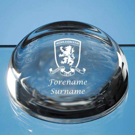 Middlesbrough FC Crest Optical Crystal Paperweight