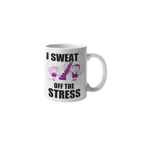 I Sweat Off The Stress 11 oz Mug Ceramic Novelty Design Gift For Fitness Lovers