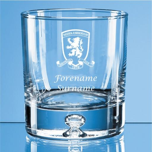 Middlesbrough FC Crest Bubble Base Whisky Tumbler