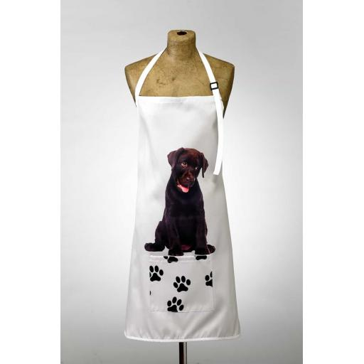 Chocolate Labrador Image Apron Poly-Cotton Machine Washable
