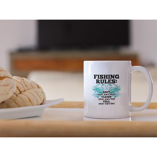 Fishing Rules 11oz Mug Novelty Design Funny Gift Fishing Humor