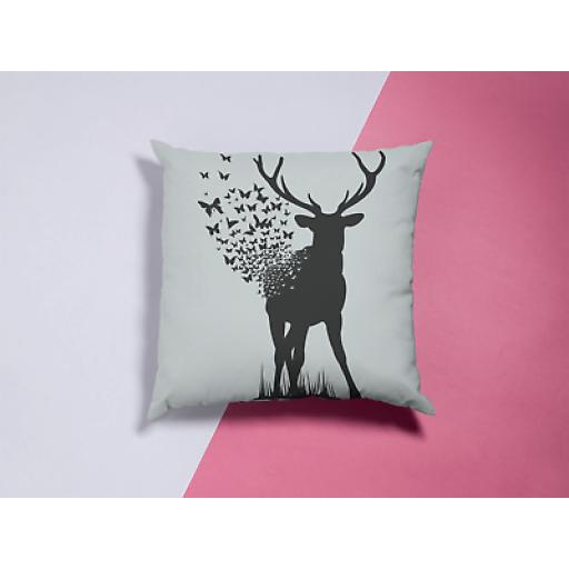 Deer Butterfly Themed Cushion Cover - Decorative Smooth Linen - Animals Gift