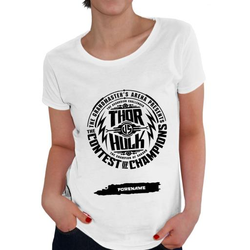 Marvel Thor Ragnarok Contest Badge Ladies T-Shirt