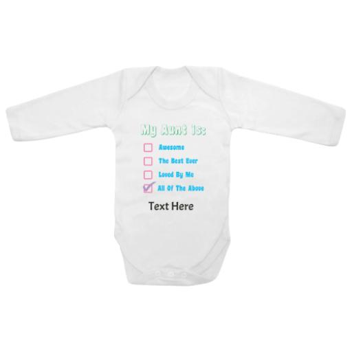 My Aunt All The Above White Longsleeve Baby Grow