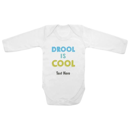 Drool Is Cool White Longsleeve Baby Grow