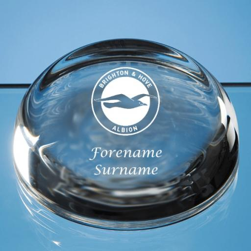 Brighton & Hove Albion FC Crest Optical Crystal Paperweight