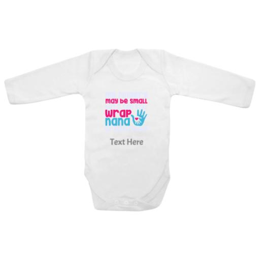 Fingers May Be Small Wrap Nana Round White Longsleeve Baby Grow