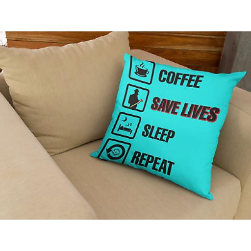Coffee-Save Lives Fire Fighter Themed Cushion- Novelty Gift Firefighters
