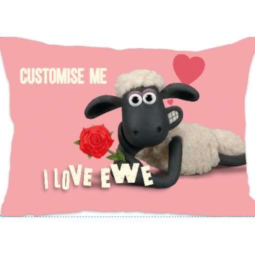 Aardman Shaun The Sheep Valentines 'I Love Ewe' Extra Large Fiber Cushion