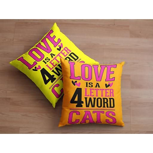 Love 4 Letter Word CATS Cushion Cover- Smooth Linen - Fun Novelty Gift Cat Lovers