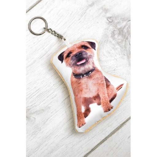 Cute Border Terrier Shaped Image Key Ring