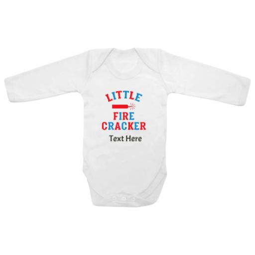 Little Fire Cracker White Longsleeve Baby Grow
