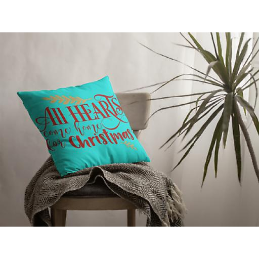 All Hearts Come Home For Christmas Cushion Cover- Soft Linen - Christmas Gift