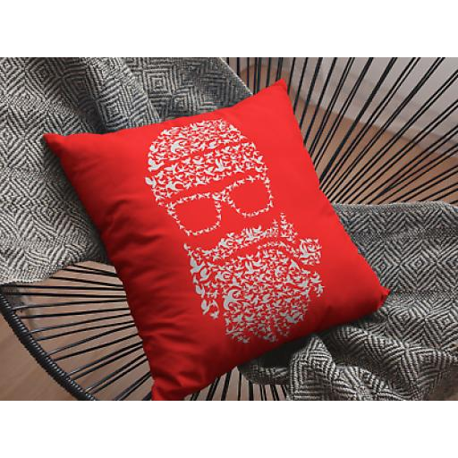 Birds Beard Red Themed Cushion Cover - Decorative Smooth Linen - Gift