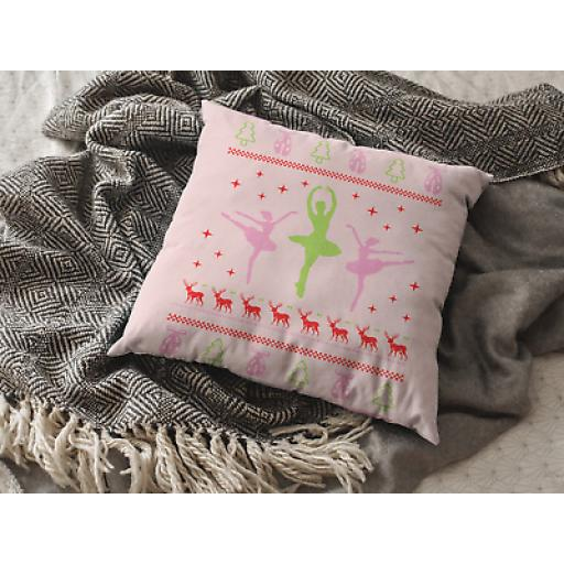Christmas Ballerina Themed Cushion Cover - Decorative Smooth Linen - Ballet Gift