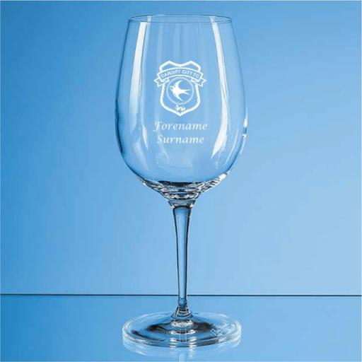 Cardiff City FC Crest Allegro Wine Glass