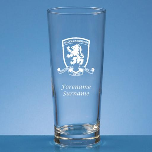 Middlesbrough FC Crest Straight Sided Beer Glass
