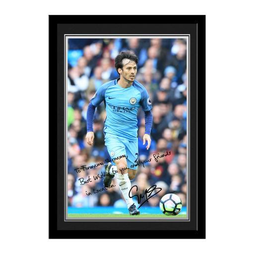 Manchester City FC Silva Autograph Photo Framed