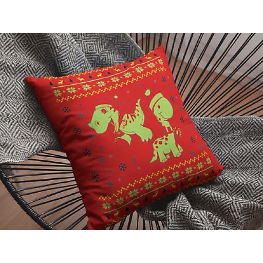 Dinosaur Cushion Cover - Decorative Smooth Linen Christmas Themed Dinosaur Gift