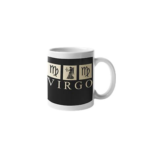 Virgo Black 11 oz Ceramic Mug Novelty Zodiac Sign Gift